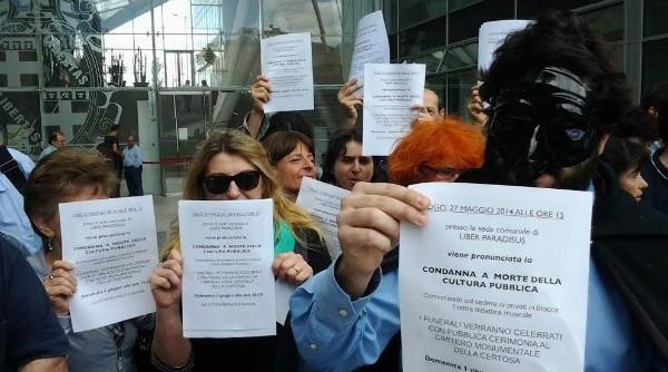 Protesta lavoratori Istituzione Musei Bologna
